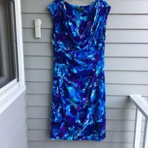 RALPH LAUREN Ruched Drape Neck Dress 14